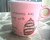 """Charlotte Bronte """"I am no bird"""" Jane Eyre literary quote mug - hand painted dusty pink with birdcage"""