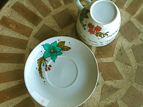 """Marcus Aurelius """"When you arise in the morning"""" Large Teacup and Saucer - Hand Painted with Floral Design"""