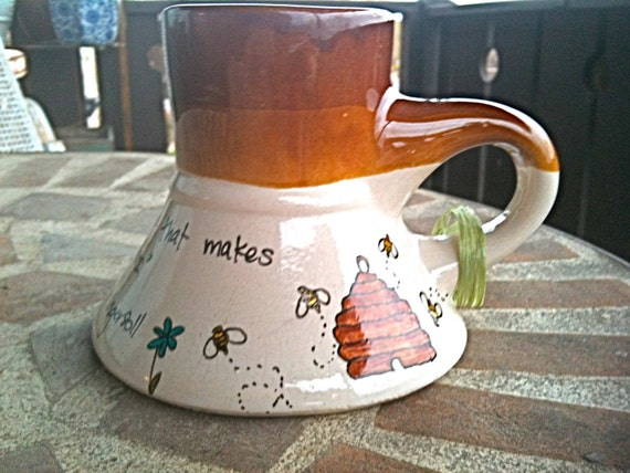 """SALE: Honeybee """"Hope"""" Quote Mug with Beehive and Flowers - Large, cream and butternut brown volcano mug"""