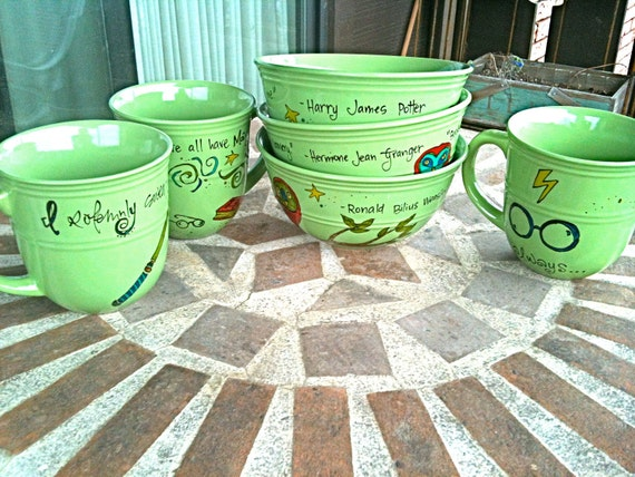 Harry Potter Dish Set: Spring Green, with quotes from Harry, Hermione, and Ron - 3 Bowls and 3 Mugs