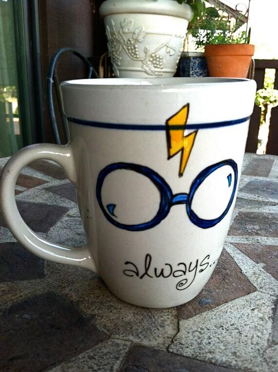 """Harry Potter """"Always"""" Literary Quote Mug - Medium-large white mug with lightning bolt, glasses, and owl"""