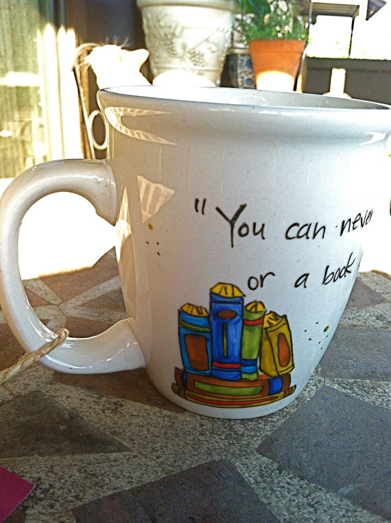 """C.S. Lewis """"You can never get a cup of tea large enough"""" Literary Quote Mug - Large white mug with books and teapot"""