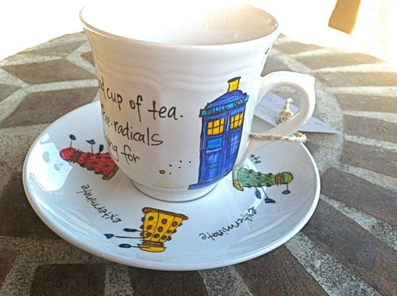 """Doctor Who """"Good cup of tea"""" Tenth Doctor hand painted quote teacup and saucer with TARDIS and Daleks"""