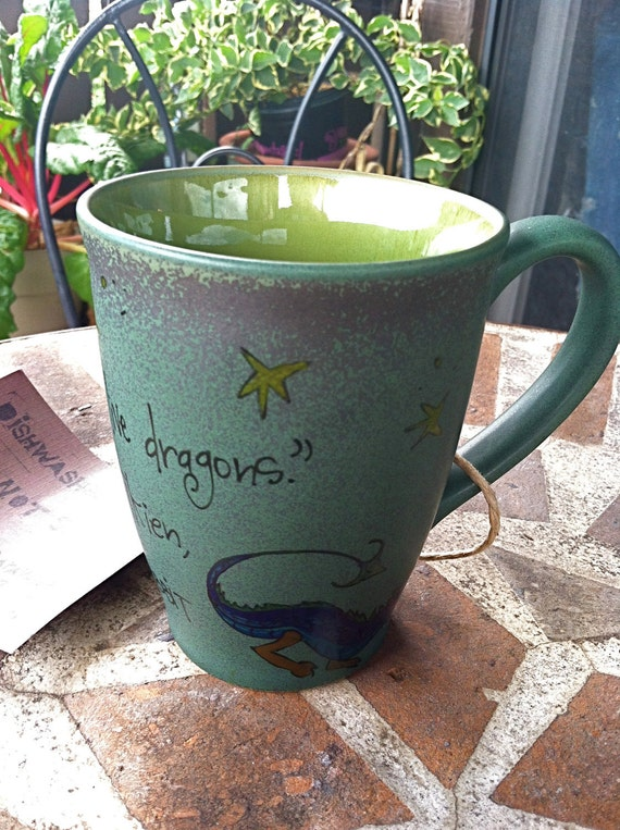 "J.R.R. Tolkien ""Never laugh at live dragons"" hand painted, vivid green quote mug with dragon - The Hobbit"