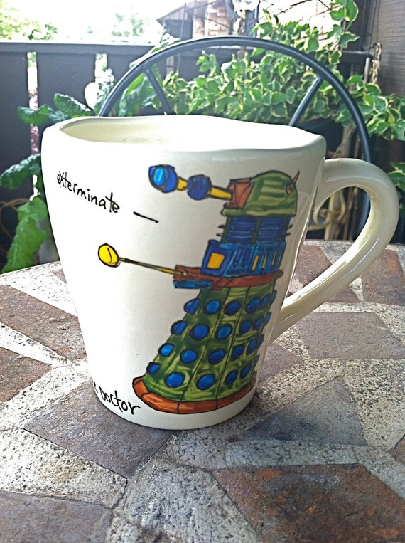"""Doctor Who """"Hello, Dalek"""" geeky Eleventh Doctor quote mug - With Dalek and """"Exterminate"""" quote"""