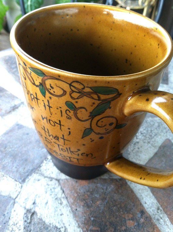 """J.R.R. Tolkien """"Do you wish me a good morning"""" Gandalf the Grey Literary Quote Mug - Hand Painted rust-brown cup with vines"""
