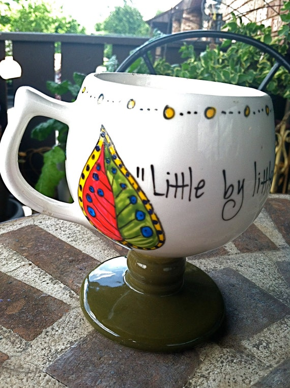 "J.R.R. Tolkien ""Little by little, one travels far."" Literary Quote Mug - Hand-painted pedestal mug with leaves"