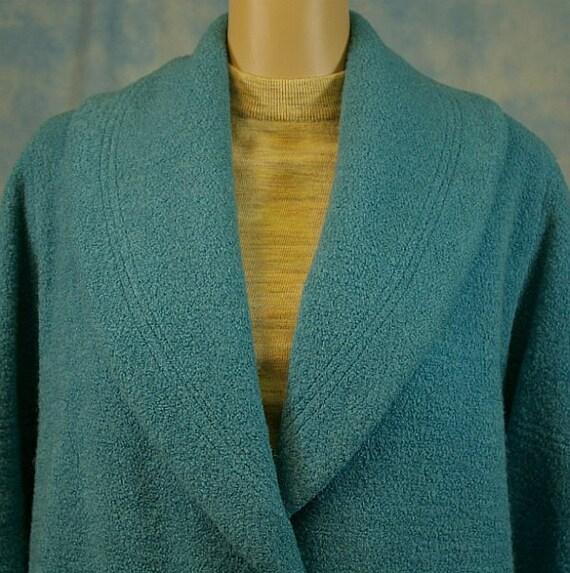 Vintage 50s Swing Coat Jacket, Turquoise Boucle Wool, Sm Med