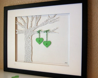 Personalized Wedding gift, ANNIVERSARY gift, Initials, Bride & Groom First Dance, Custom Paper Tree in Green
