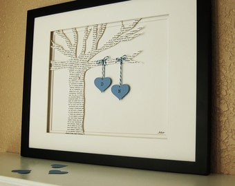 Unique Wedding Gift - Personalized 3D Song Tree - made from song, poem, vows (wedding gift, paper anniversary gift)