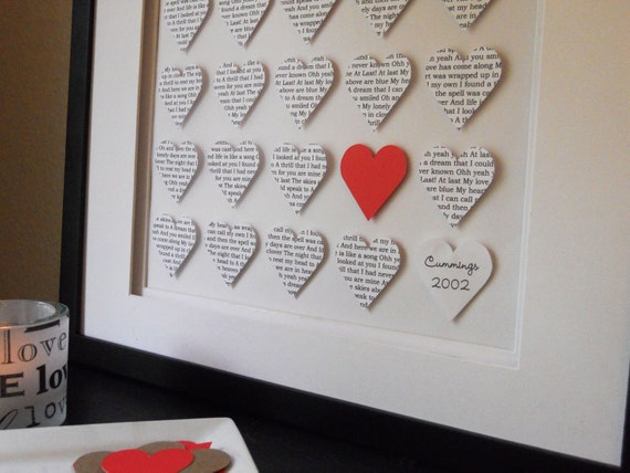 Personalized Wedding Gift : Custom Wedding Artwork. Paper Hearts, Wedding Gift, Bride and Groom Wedding Gift