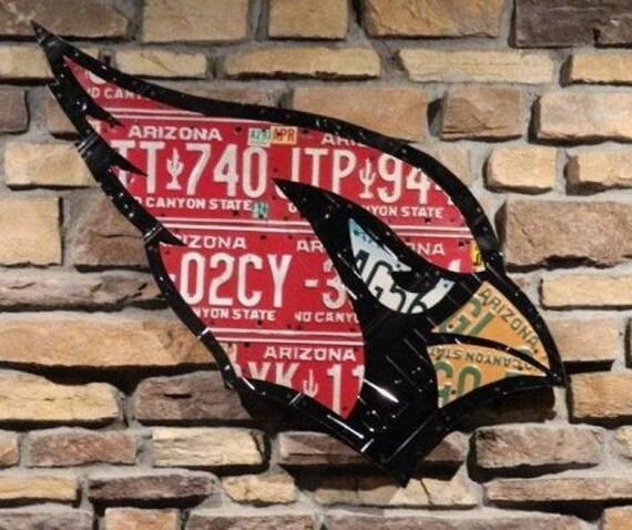 Arizona Cardinal made from expired Arizona license plates