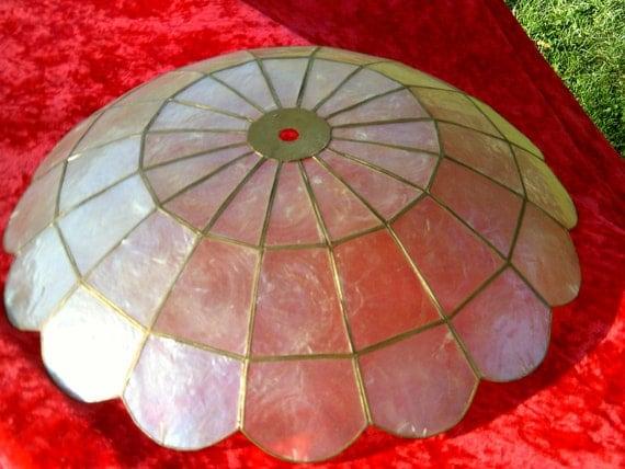 Beautiful Vintage Capiz Shell Shade Light Late 60s
