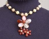 Autumn Blossom Necklace Statement Semiprecious Gemstones Beaded Flowers