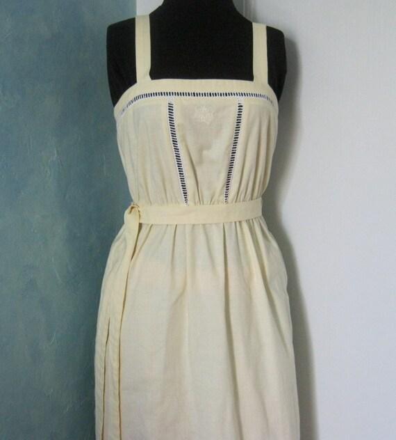 Vintage Sun Dress in Yellow Cotton - Embroidered Dress - Sweet Summer Dress - Button Dress