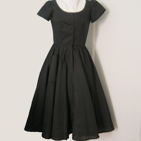 80s Dress with 50s Fit and Flare - Black Cotton Dress with Yards of Fabric and Rick Rack Trim