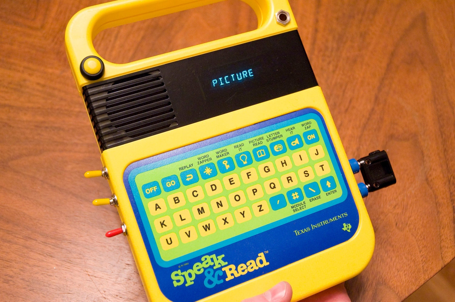 Yellow And Blue Circuit Bent Speak And Spell Read Glitched