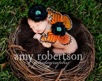 REGAL MONARCH Angel Butterfly WINGS - Gorgeous Photo Prop - Matches Regal Monarch Headband - Rich, Detailed, Amazing - Straps can be added
