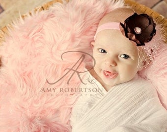 Vintage Boutique Candy Pink and Chocolate Brown Headband - All Sizes