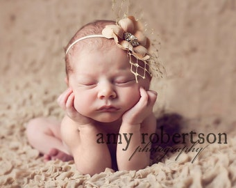 THE JOLIE Vintage Couture Headband - Stunning Golden Shades - M2M Bloomers - Gorgeous - Available in Any Size Preemie to Adult
