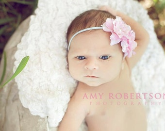THE DAYDREAMER Headband - Baby Blue Skinny Headband with Gorgeous Pink and White Silk Flowers with Pearl Centers - Preemie to Adult
