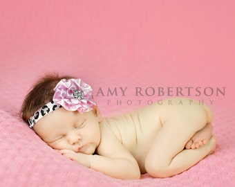 LEOPARD GLAM Headband - Gorgeous Luxe Leopard Headband with Stunning Pink Rosette and Crystal Center
