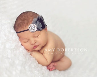 GREY and BLACK Feather Fascinator - Preemie to Adult Sizes Available