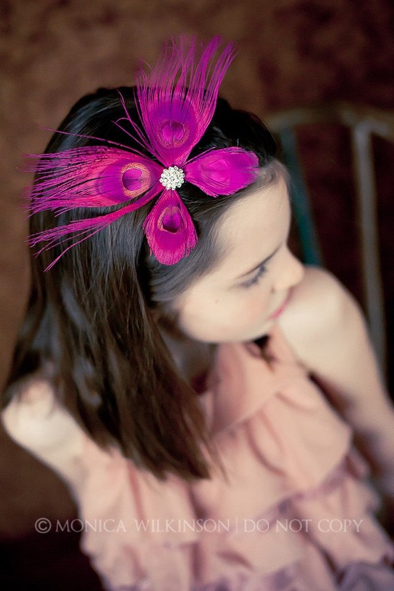 HEARTS AFLUTTER Gorgeous Designer Luxury Peacock Feather Butterfly Skinny Headband with Crystal Accent - All Sizes - Many Colors Available