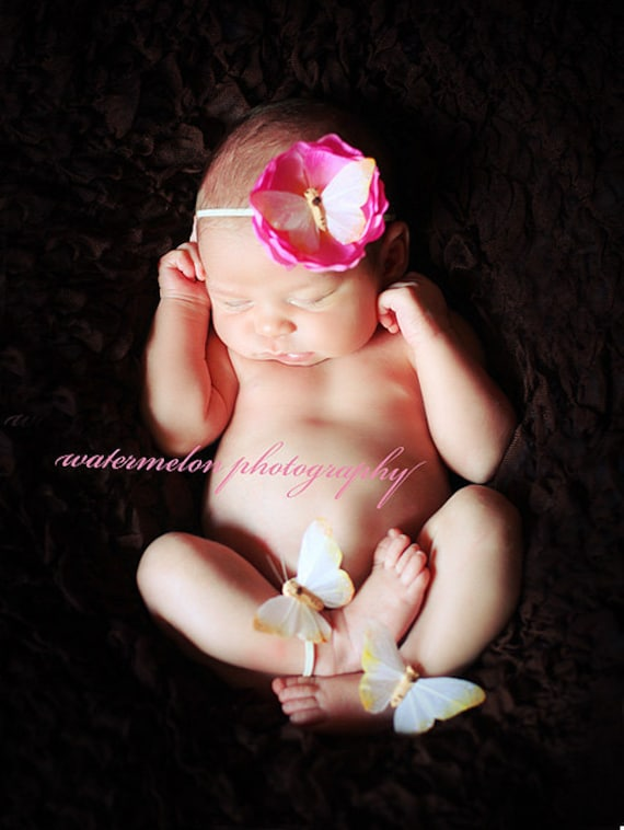 BuTTERFLY BEAUTY - Gorgeous Butterfly Fluttering on Flower with Matching Ankle Cuffs - Photo Prop  - Birthday - Any Size