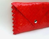 red envelope clutch, candy wrapper purse