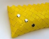 Yellow  clutch .Candy wrapper  bag.neon yellow  clutch