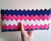 Bags and Purse.Clutch.Dark Blue and Deep Pink Clutch.Candy Wrapper Purse
