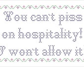 "Troll 2 ""You Can't Piss On Hospitality"" cross stitch pattern PDF"