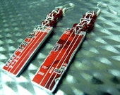 Red Circuit Board Long Earrings