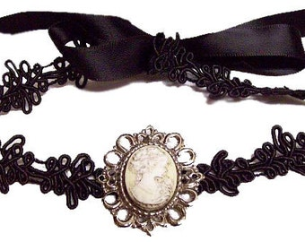 Victorian Steampunk Gothic Cameo Choker Necklace