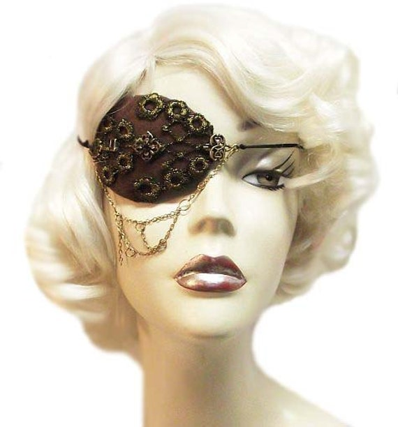 Victorian Chain Ladies Steampunk Buccaneer Eye Patch