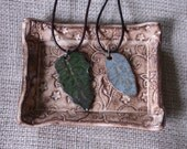 Dark Green Leaf Pendant Necklace on Leather Cord