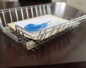 Treasury Item: Pair of Vintage Metal Wire Industrial In-boxs / office baskets