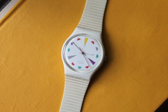Vintage Swatch Watch mod 1987 Bright Color design with cream strap and case