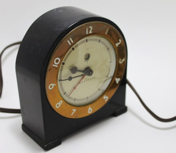 Treasury item westclox silent knight electric art deco alarm Art deco alarm clocks