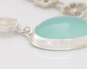 Okra Series Necklace with Aqua Chalcedony in Sterling