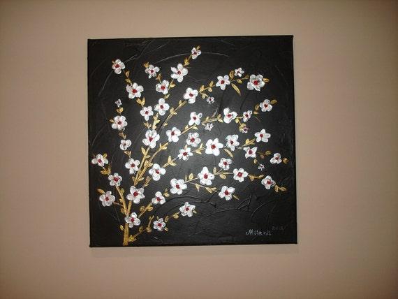 Abstract Modern Textured Original Landscape Asian Tree Art by Milana
