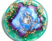 27mm Blue/Purple/Green Czech Glass Button with Gold Accents-Reverse Painted-Ivy Flower