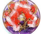 27mm Pink/Red/Purple Czech Glass Button with Gold Luster-Reverse Painted-Ivy Flower
