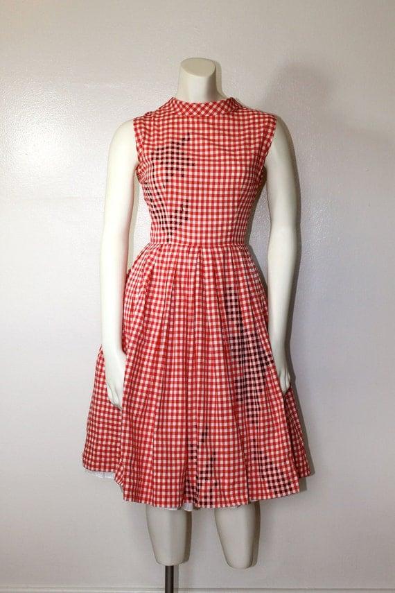 Vintage 1950s BLACK TULIP Embroidered Gingham Dress