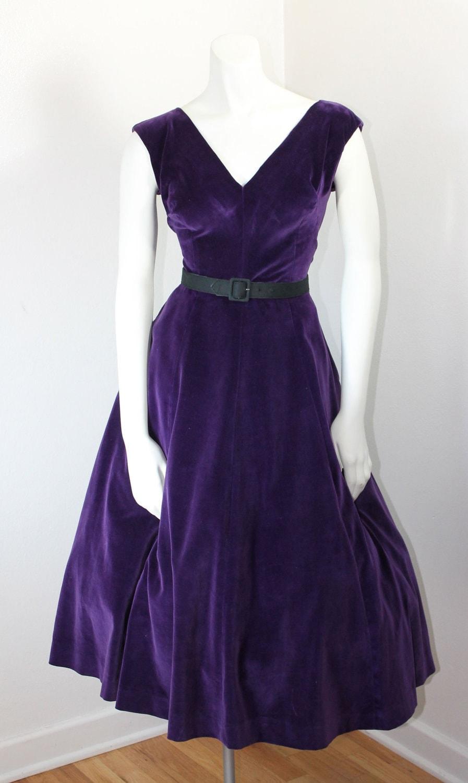 Vintage 1950s Dress Purple Passion Purple Velvet Dress By