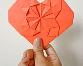 One Red Origami Valentine LOVE Note Card