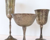 Set of 3 Silver Plate Goblets