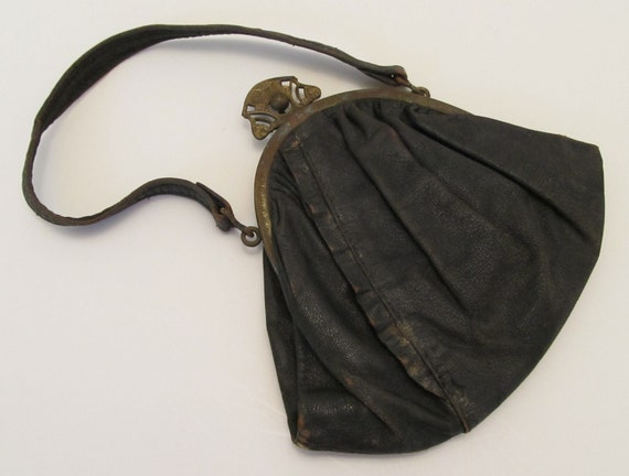 Antique Black Leather Handbag