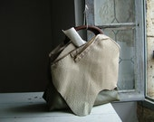 City Urban Glam Tote in Khaki Natural Leather - OOAK